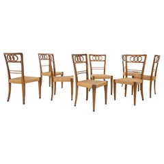 Paolo Buffa Attr. Set of Eight Chairs in Walnut Wood and Straw, 1950s