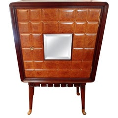 Paolo Buffa Attributed Cabinet with Interesting Brass Hardware, Made in Milan