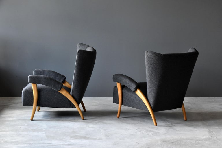 Italian Paolo Buffa 'Attribution' Organic Lounge Chairs, Fabric, Light Oak, Italy, 1940s For Sale