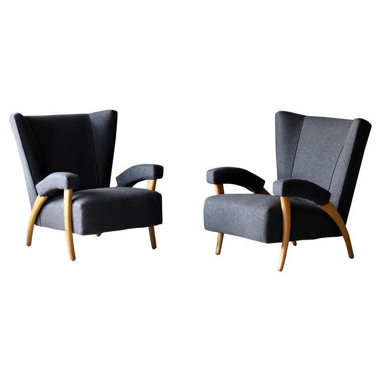 Paolo Buffa 'Attribution' Organic Lounge Chairs, Fabric, Light Oak, Italy, 1940s For Sale