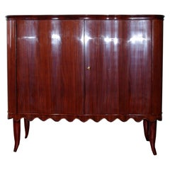Paolo Buffa Bar Cabinet with Scalloped Details and Glass Interiors