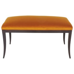 Paolo Buffa Bench in Wood and Ochre Velvet, Italy, 1940s