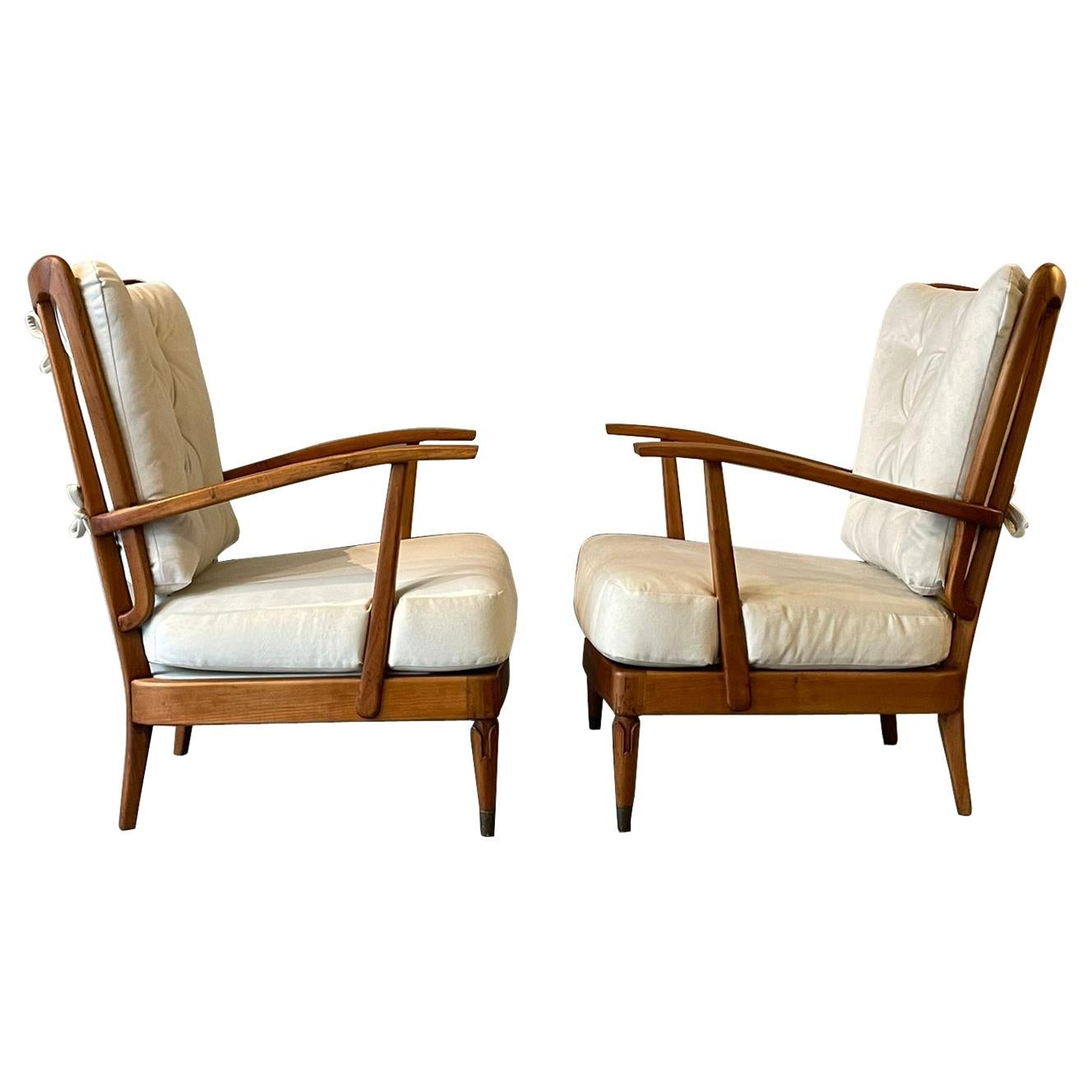 Paolo Buffa Cantù Pair of Armchairs Cherry Wood White Backrest, Italy, 1950