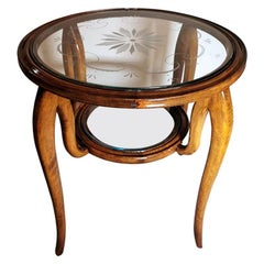 Paolo Buffa Coffee Table in Cherry Wood with Engraved Glass