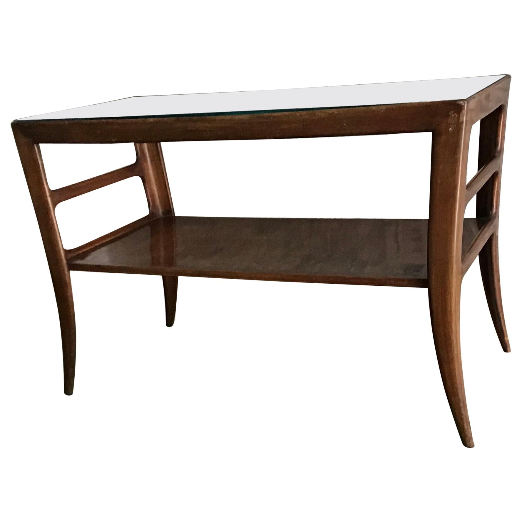 Paolo Buffa Coffee Table Wood Glass 1950, Italy