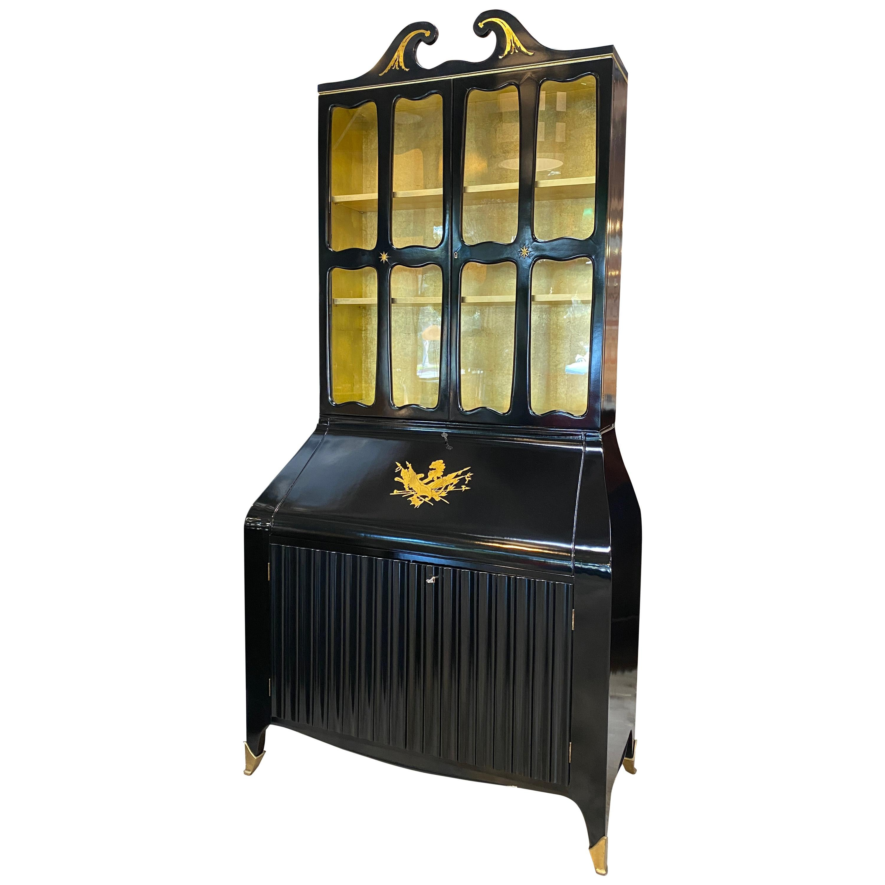 Paolo Buffa Credenza/Secretaires with Coat-of-Arms in Brass, Italy, 1950s