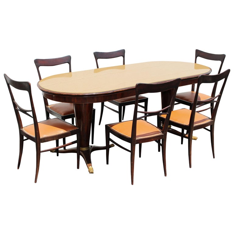 Dining Room Set in the Style of Paolo Buffa, possibly made by Dassi, circa 1954 For Sale