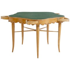 Paolo Buffa Game Table in Maple Wood and Brass and Velvet, 1950s