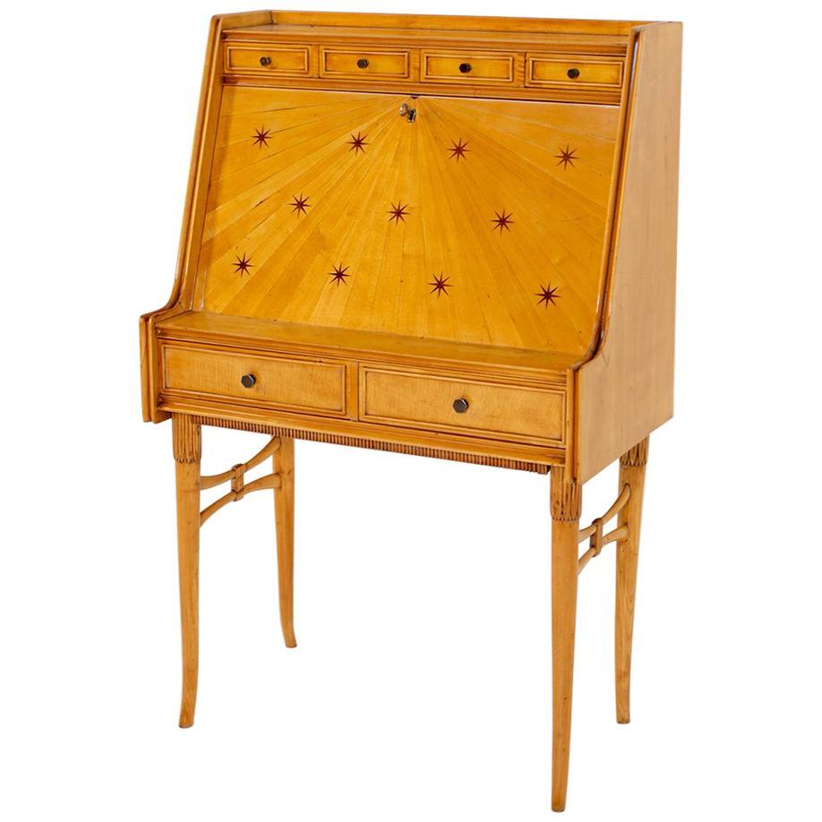 Paolo Buffa Important Cabinet Secretarie in Maple and Brass, 1950s