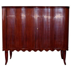 Paolo Buffa Italian Bar Cabinet with Mirror and Drawers