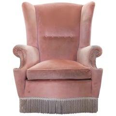 Paolo Buffa, Italian Mid-Century Modern Pink Wingback Chair, 1950s