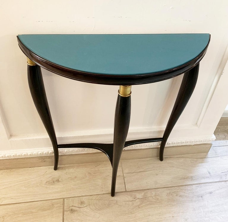 Mid-20th Century Paolo Buffa Italian Midcentury Neoclassical Wood and Green Glass Console For Sale