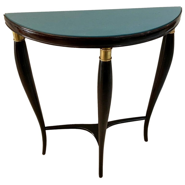Paolo Buffa Italian Midcentury Neoclassical Wood and Green Glass Console For Sale