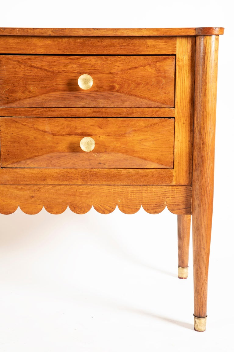 Mid-Century Modern Paolo Buffa Italian Oak Wood with 6 Ashlar-Work Drawers Credenza, 1940s For Sale