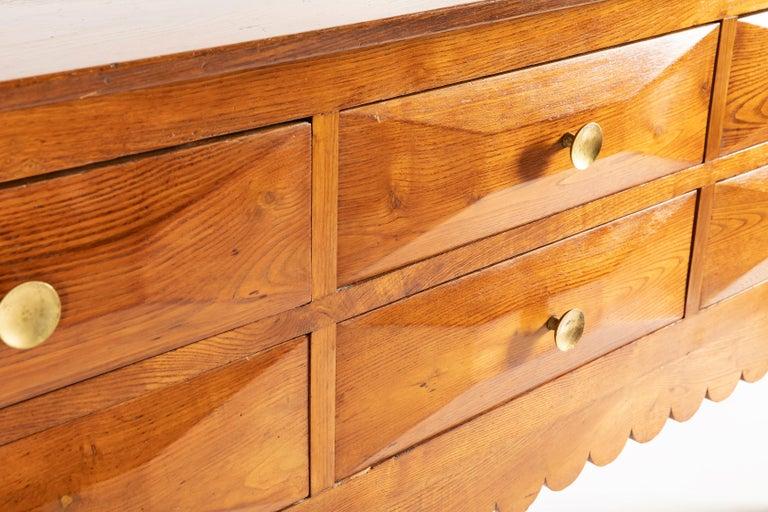 Brass Paolo Buffa Italian Oak Wood with 6 Ashlar-Work Drawers Credenza, 1940s For Sale