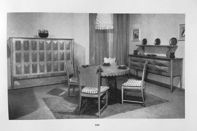 Paolo Buffa Italian Oakwood with Four Ashlar-Work Doors Cabinet Highboard, 1940s For Sale 5