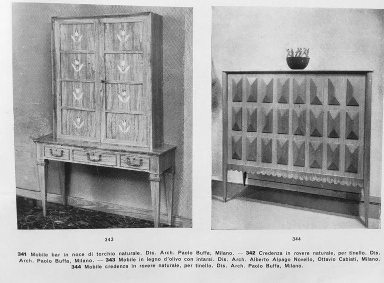 Paolo Buffa Italian Oakwood with Four Ashlar-Work Doors Cabinet Highboard, 1940s For Sale 6