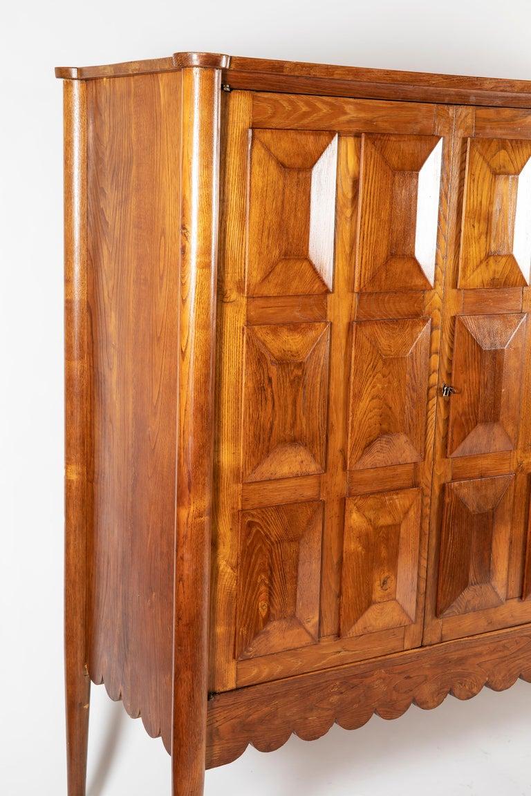 Paolo Buffa Italian Oakwood with Four Ashlar-Work Doors Cabinet Highboard, 1940s In Good Condition For Sale In Firenze, IT