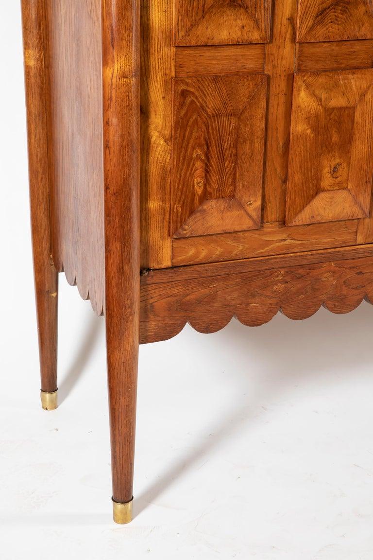 Brass Paolo Buffa Italian Oakwood with Four Ashlar-Work Doors Cabinet Highboard, 1940s For Sale