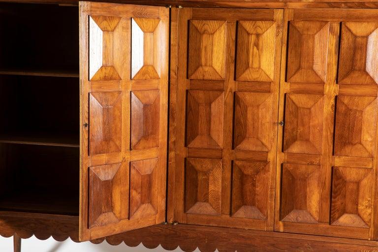 Paolo Buffa Italian Oakwood with Four Ashlar-Work Doors Cabinet Highboard, 1940s For Sale 1