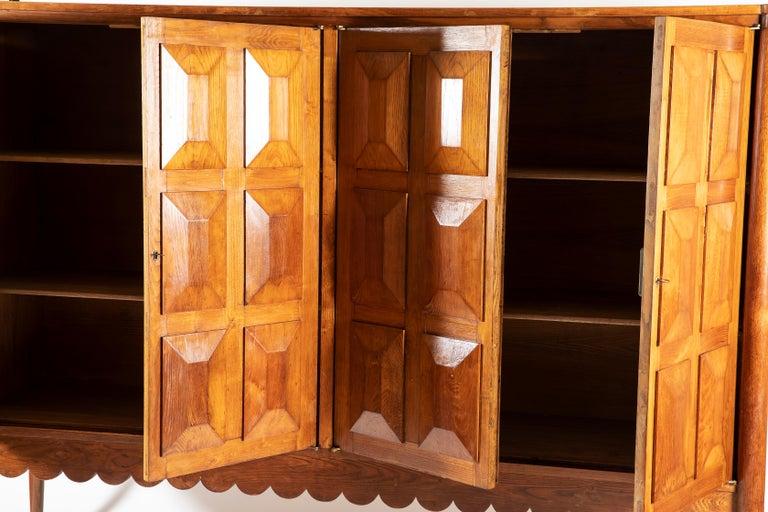 Paolo Buffa Italian Oakwood with Four Ashlar-Work Doors Cabinet Highboard, 1940s For Sale 2