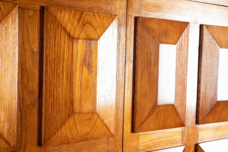 Paolo Buffa Italian Oakwood with Four Ashlar-Work Doors Cabinet Highboard, 1940s For Sale 3