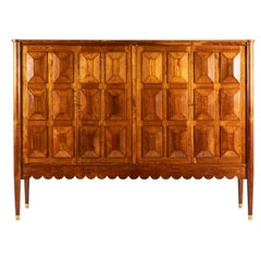 Paolo Buffa Italian Oakwood with Four Ashlar-Work Doors Cabinet Highboard, 1940s