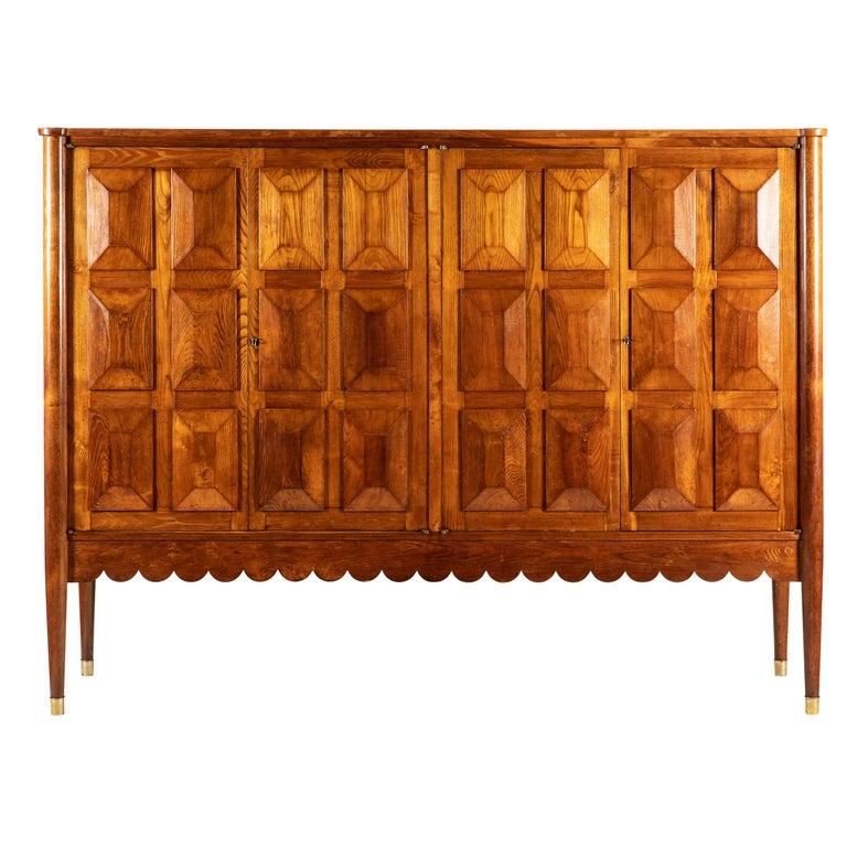Paolo Buffa Italian Oakwood with Four Ashlar-Work Doors Cabinet Highboard, 1940s For Sale