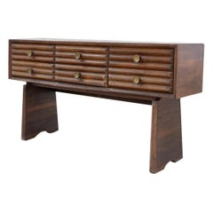 Paolo Buffa Italian Sideboard in Walnut and Brass, 1950s