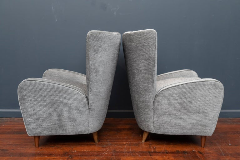 Paolo Buffa lounge chairs from the Hotel Bristol, Merano Italy. Recently upholstered in a sharkskin wool blend, very comfy.