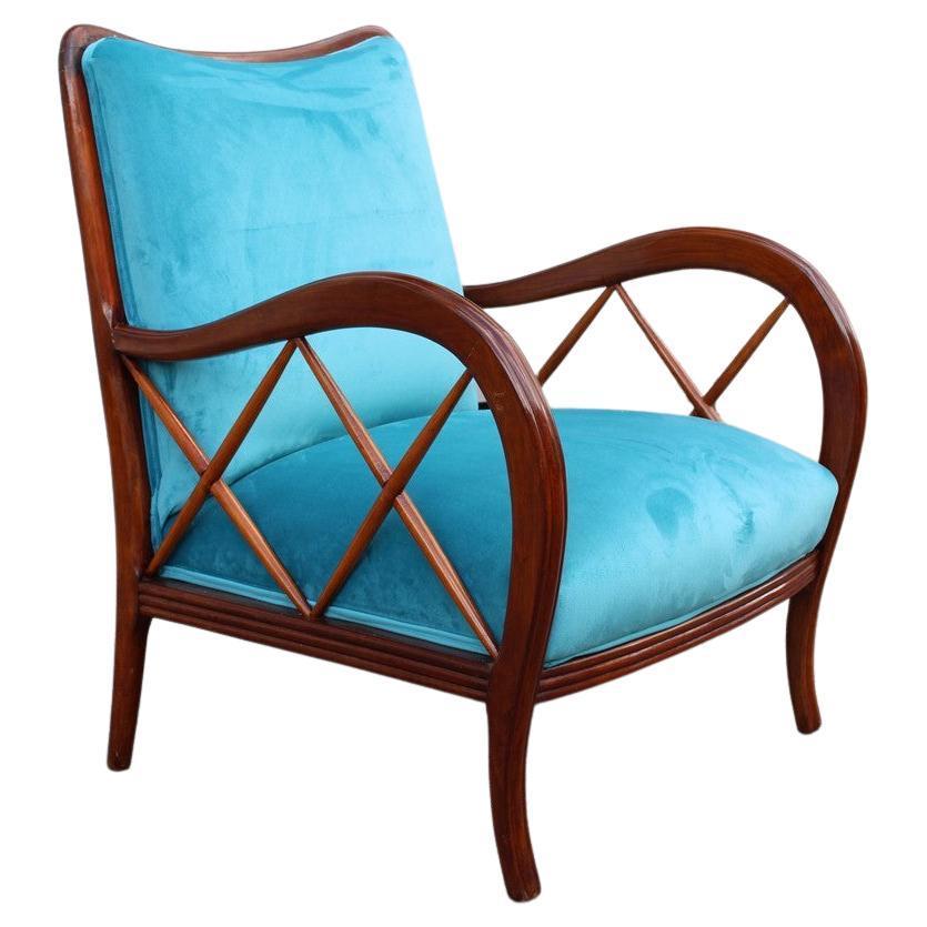 Paolo Buffa Style Mid-Century Italian Armchair Heavenly Velvet Wood, 1940s