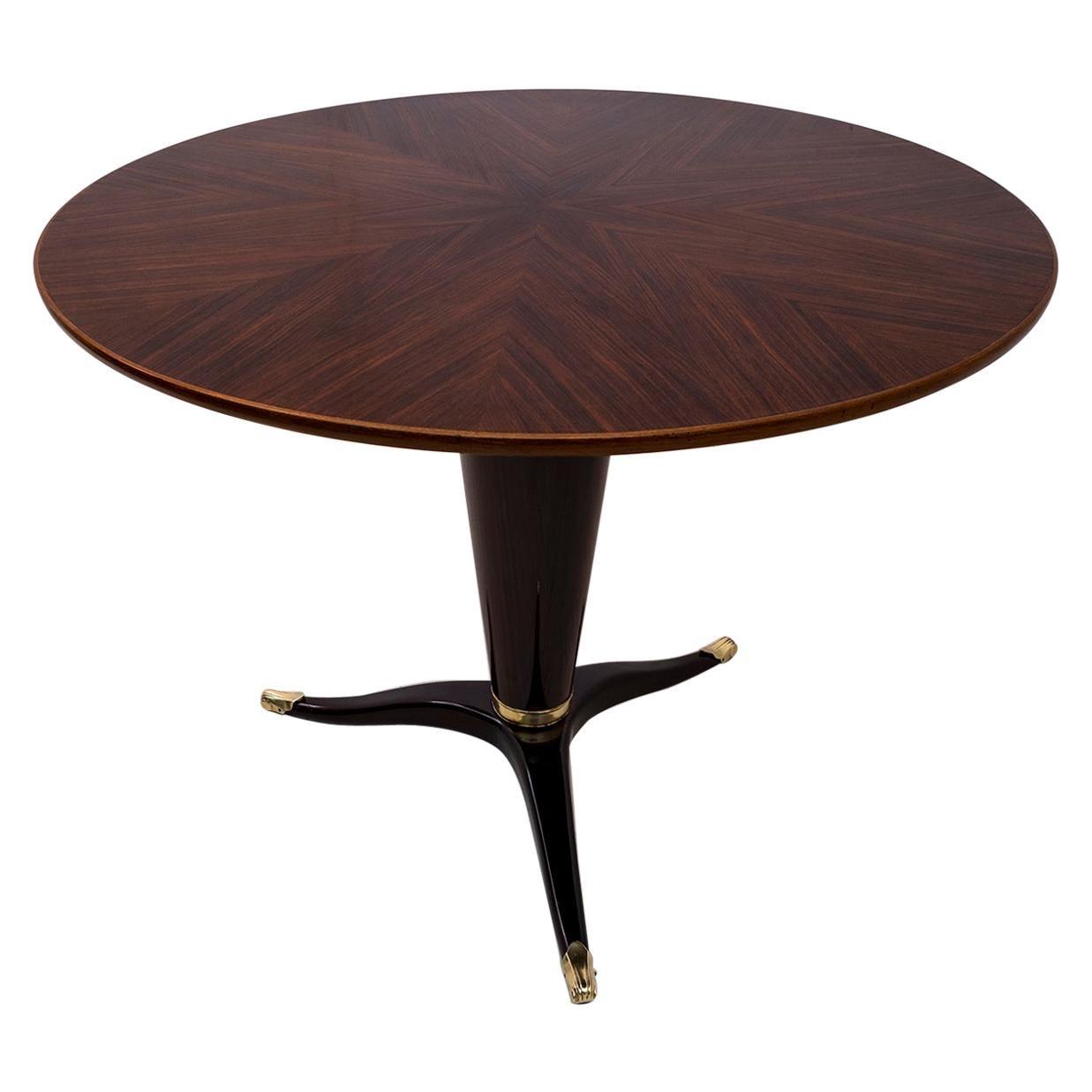Paolo Buffa Mid-Century Modern Italian Mahogany and Walnut Round Table, 1950s