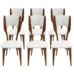 Paolo Buffa Mid-Century Modern Italian Rosewood and White Cotton Fabric Chairs