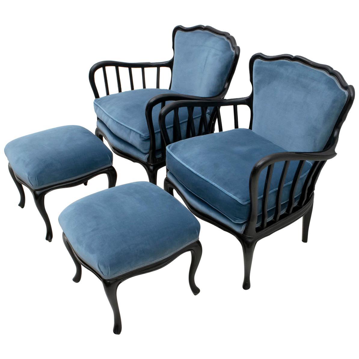 Paolo Buffa Mid-Century Modern Italian Velvet Footrest and Armchairs, 1950s