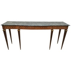 Paolo Buffa Mid-Century Wood, Marble and Brass Console Table, 1950s, Italy