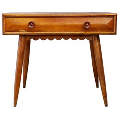 Paolo Buffa Midcentury Desk with Drawer in Oak with Flounce, 1950s