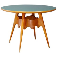 Paolo Buffa Midcentury Dining Table with Green Glass Top, 1940s