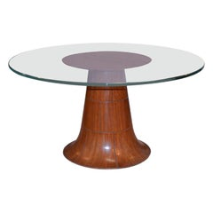 Paolo Buffa Midcentury Italian Round Coffee Table Beveled Thick Glass Top