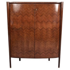 Paolo Buffa Midcentury Wood Italian Dry Bar Cabinet with Mirrors, Italy 1950s