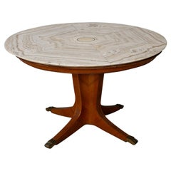 Paolo Buffa Midcentury Table Round Onyx and Wood, 1950s
