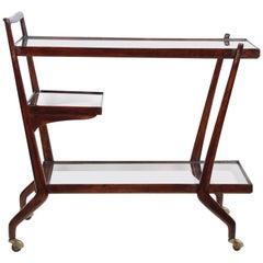 Paolo Buffa Midcentury Three Levels Mahogany and Glass Italian Bar Cart, 1950s