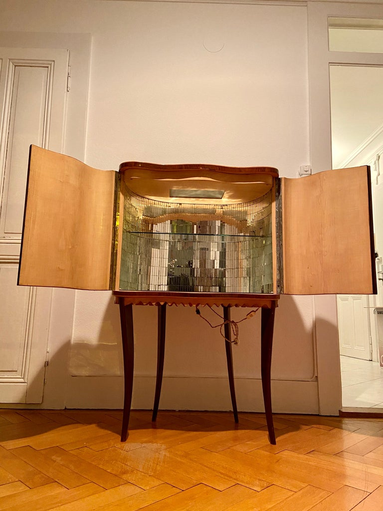 Paolo Buffa Attr Mobile Dry Cocktail Bar Chinoiserie Cabinet, Mid-Century Modern For Sale 3