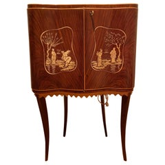 Paolo Buffa Attr Mobile Dry Cocktail Bar Chinoiserie Cabinet, Mid-Century Modern