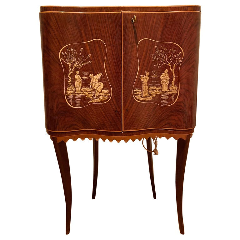 Paolo Buffa Attr Mobile Dry Cocktail Bar Chinoiserie Cabinet, Mid-Century Modern For Sale