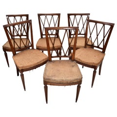 Paolo Buffa Neoclassical Cherrywood Dining Chairs, 1940, Italy, Set of Six