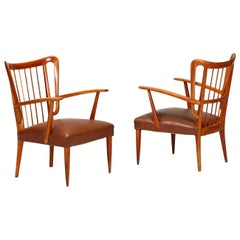 Paolo Buffa Pair of Midcentury Chairs in Cherrywood and Leather, 1950
