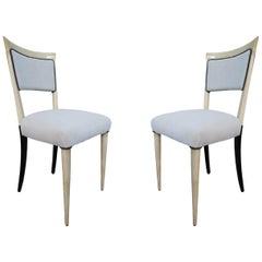 Paolo Buffa, Pair of Gray Velvet, Wood & Parchment Midcentury Chairs, Italy 1960