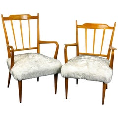 "Paolo Buffa Pair of Midcentury Armchairs ""Him and Her"" in Maple Wood from, 1950s"
