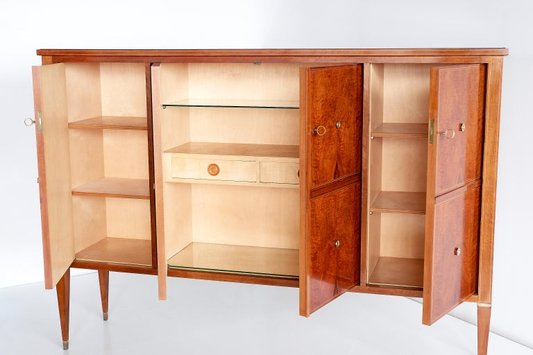 Paolo Buffa Panelled Four-Door Cabinet in Mahogany and Walnut, Italy, 1950s For Sale 2