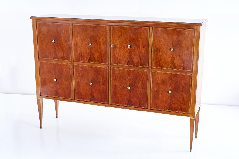 Mid-20th Century Paolo Buffa Panelled Four-Door Cabinet in Mahogany and Walnut, Italy, 1950s For Sale